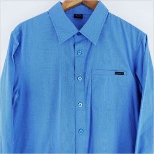 Oakley Mens Blue White Button Up Shirt Size Small